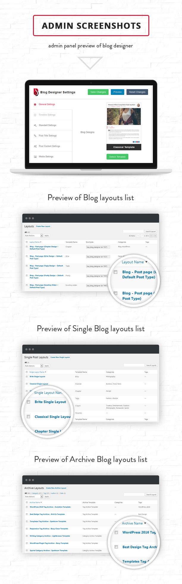 Blog layout settings