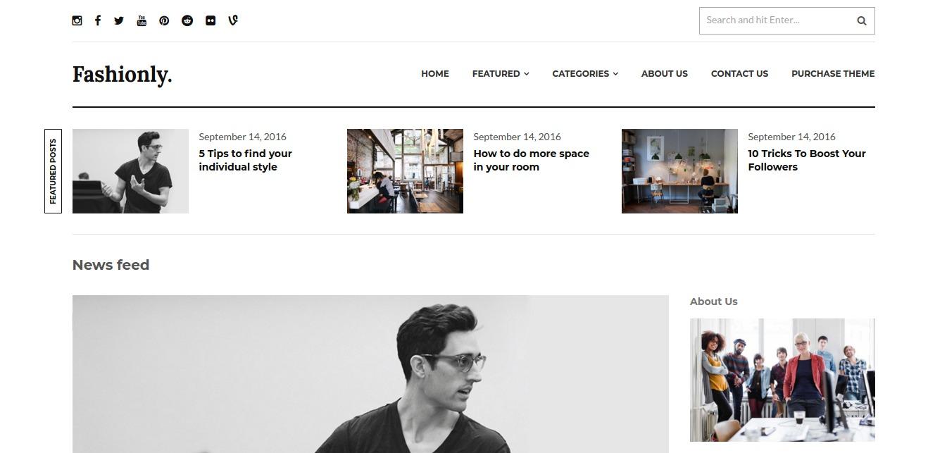 Fashionly – A Responsive WordPress Blog Theme – WordPress theme