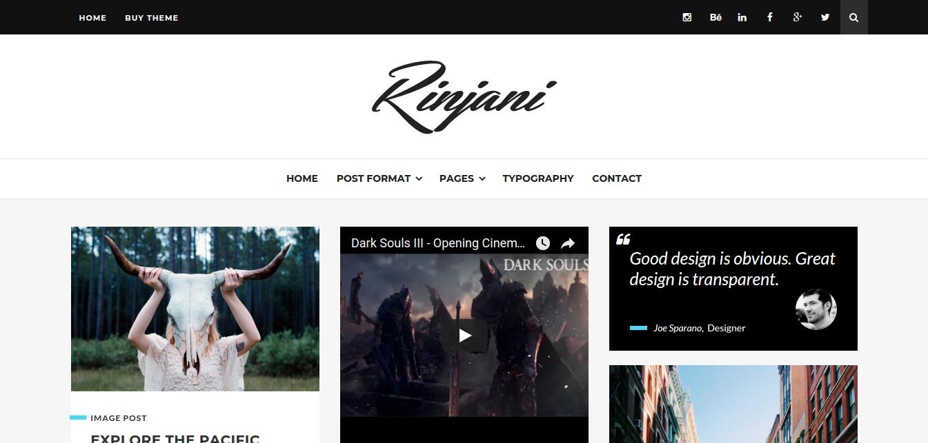 Rinjani – a Responsive Grid Blog Theme