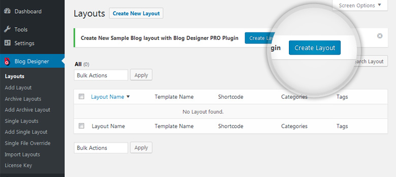 Blog Layouts - Create New Blog Layout
